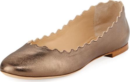 Chloe Scalloped Leather Ballet Flat