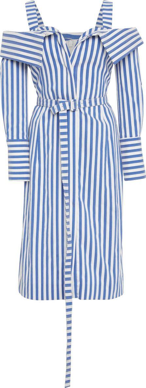 Monse Collar Flap Front Stripe Midi Dress