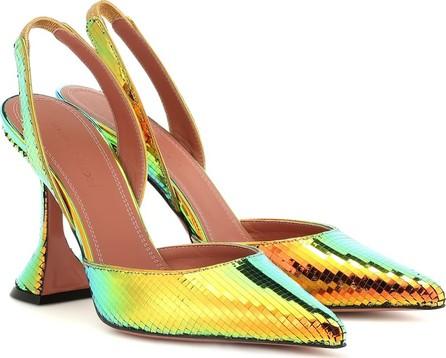 Amina Muaddi Holli metallic slingback sandals