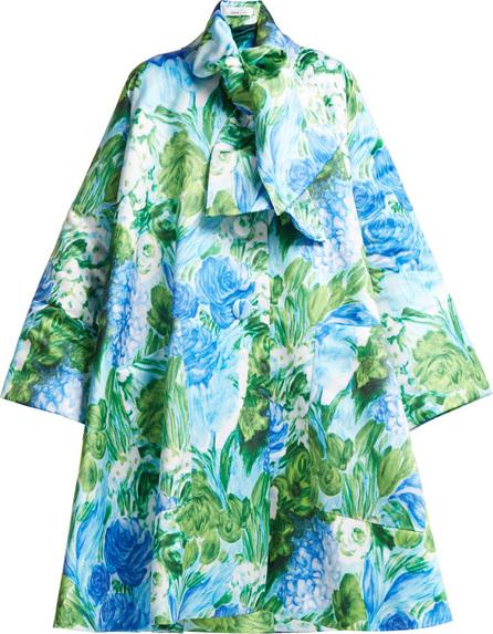 Richard Quinn Oversized A-line floral-print satin coat