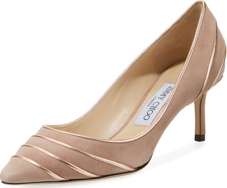 Jimmy Choo Romy 60mm Metallic Leather-Piped Suede Pump