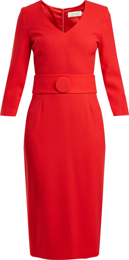 Goat Fox V-neck wool-crepe pencil dress