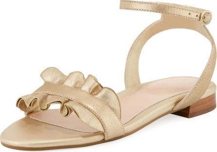 Taryn Rose Vesta Ruffle Metallic Leather Flat Sandal