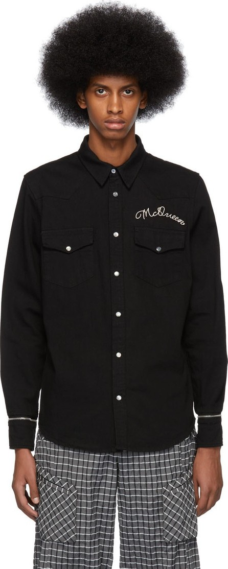 Alexander McQueen Black 'McQueen' Embroidered Shirt