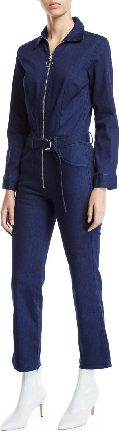3X1 Valen Zip-Front Belted Denim Jumpsuit