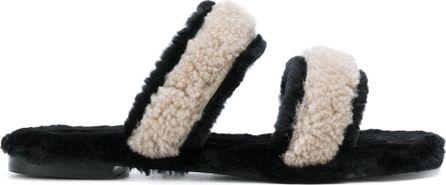 Avec ModèRation shearling double strap sandals