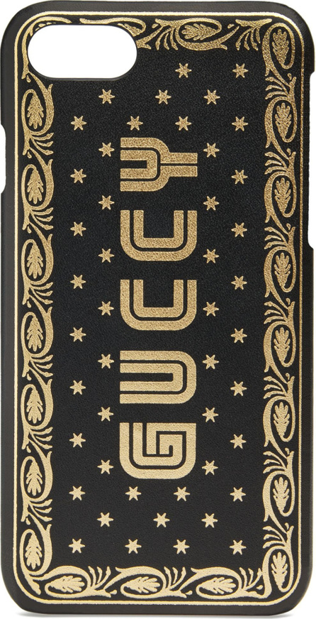 Gucci Guccy Logo Moon & Stars Leather iPhone 7 Case