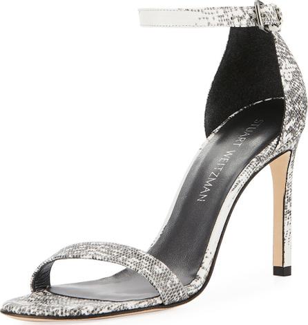 Stuart Weitzman Walkway Snake-Embossed Ankle-Strap Sandal
