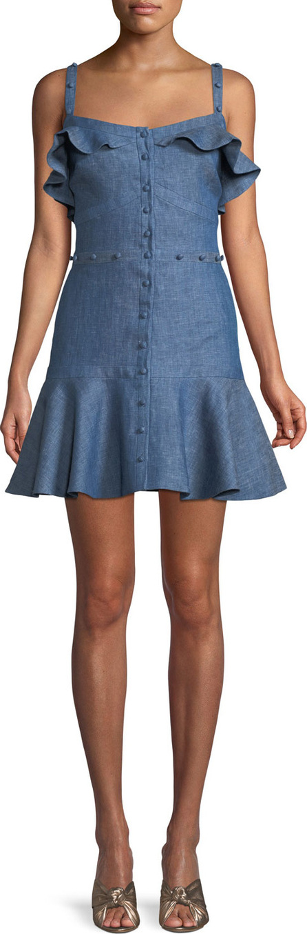 Alexis Jodie Button-Front Ruffle Cotton Chambray Dress