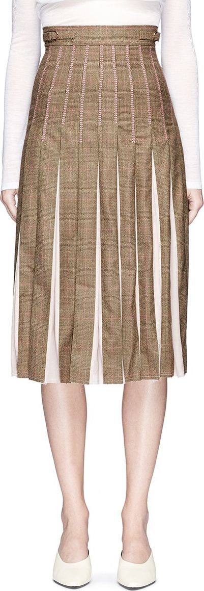 Gabriela Hearst Virgin wool check plaid crepe pleated skirt
