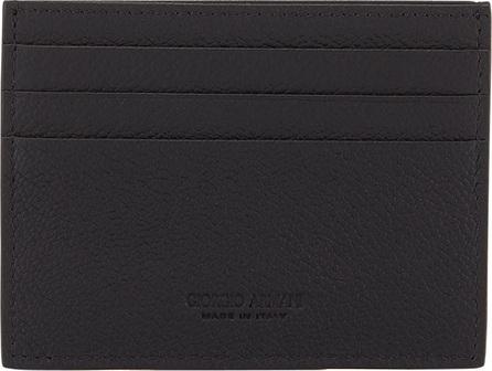 Giorgio Armani Tumbled Leather Credit Card Holder, Black