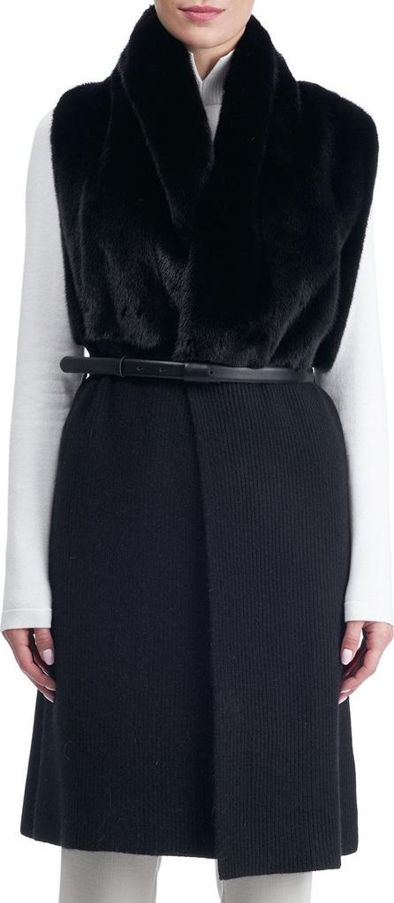 Gorski Belted Long Cashmere Vest with Mink Fur