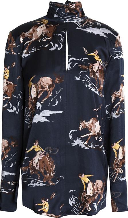 Nina Ricci Cutout printed silk-satin turtleneck blouse
