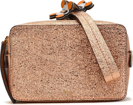 Anya Hindmarch Stack color-block metallic cracked-leather clutch