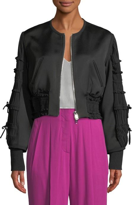 3.1 Phillip Lim Gathered-Sleeve Zip-Front Smocked Bomber Jacket