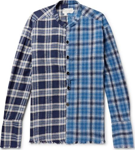 Greg Lauren Grandad-Collar Panelled Checked Cotton-Flannel Shirt
