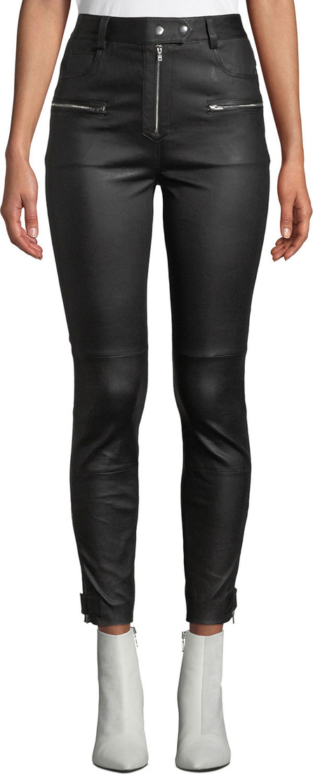 7 For All Mankind High-Rise Fitted Leather Biker Pants