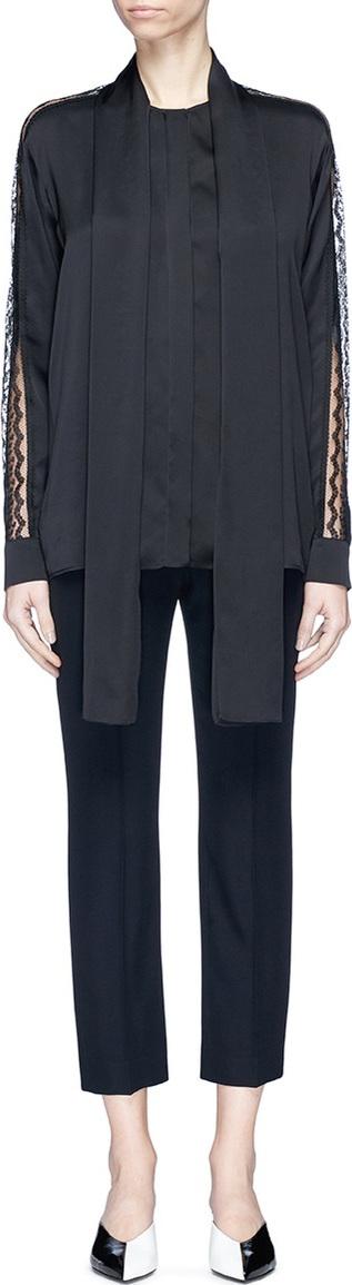 Stella McCartney 'Juliette' neck tie guipure lace sleeve silk crepe shirt