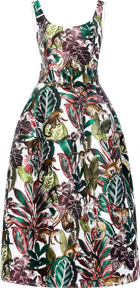Oscar De La Renta Jungle Jacquard Dress
