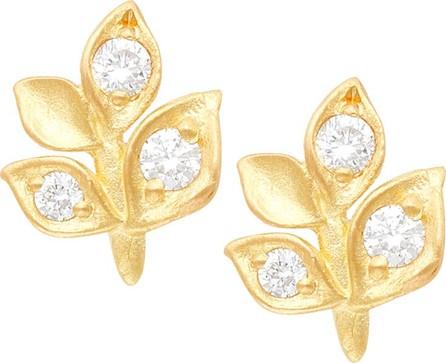 Jamie Wolf 18k Diamond Leaf Stud Earrings