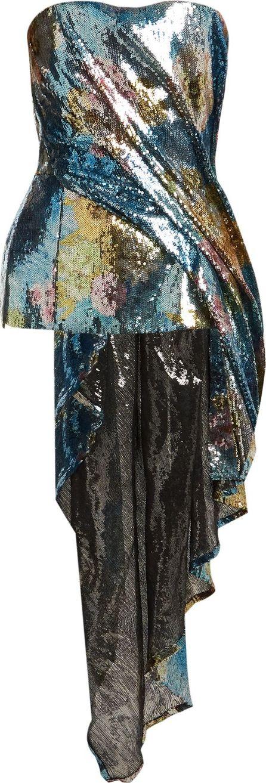 Halpern Sequin-embellished asymmetric-draped bustier top