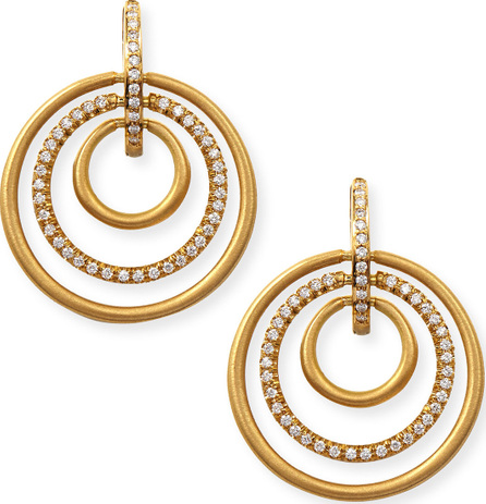 Carelle 18k Moderne 3-Ring Pave Diamond Earrings, 1 1/8""