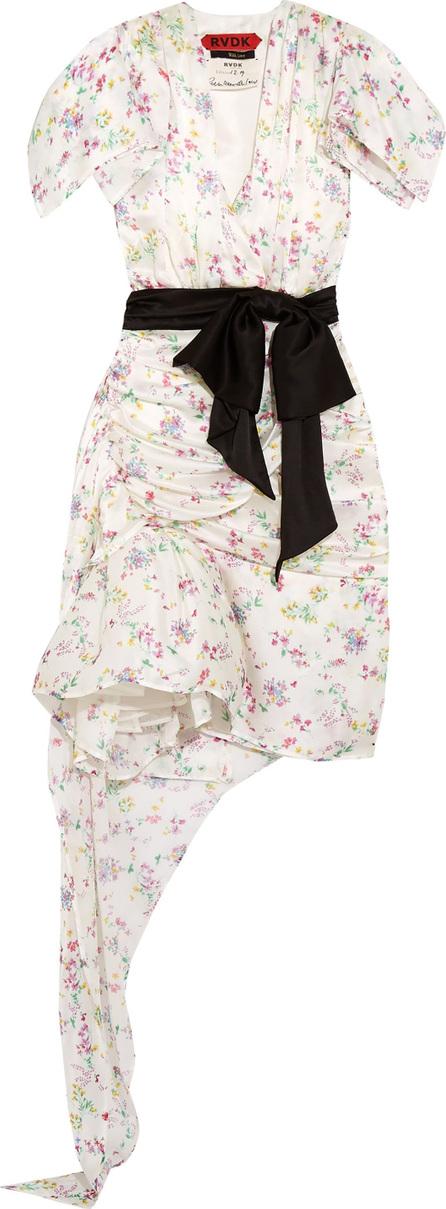 Ronald Van Der Kemp Asymmetric draped floral-print silk dress