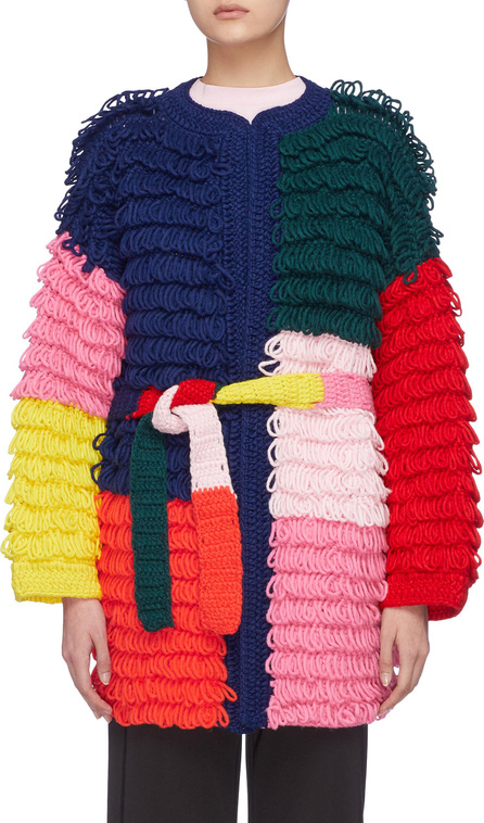 Mira Mikati Colourblock patchwork loop knit belted oversized open coat