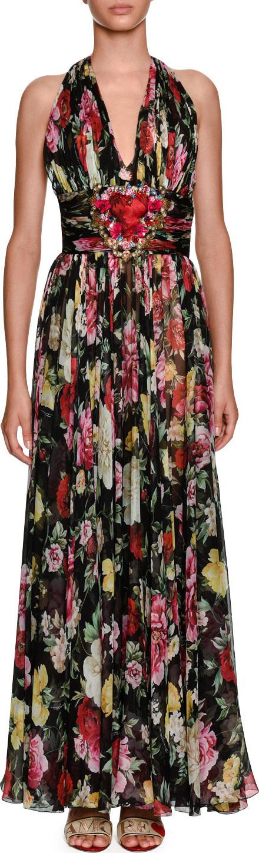 Dolce & Gabbana Halter-Neck Floral-Print Chiffon Evening Gown w/ Heart Patch