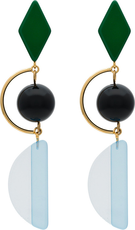 Marni Green and blue resin and metal hook earrings