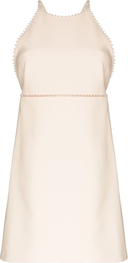 Miu Miu Pearl-trimmed wool and silk-blend mini dress