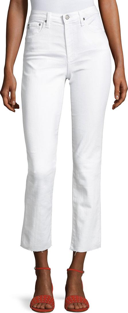 AG Jeans Isabelle High-Rise Straight-Leg Jeans, White