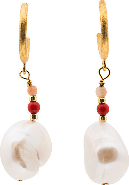 Anni Lu Baroque pearl earrings with pink coral