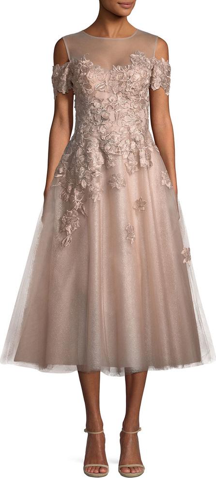 Rickie Freeman for Teri Jon Organza 3D Embellished Illusion Gown