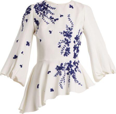 Andrew Gn Embellished floral-embroidered blouse