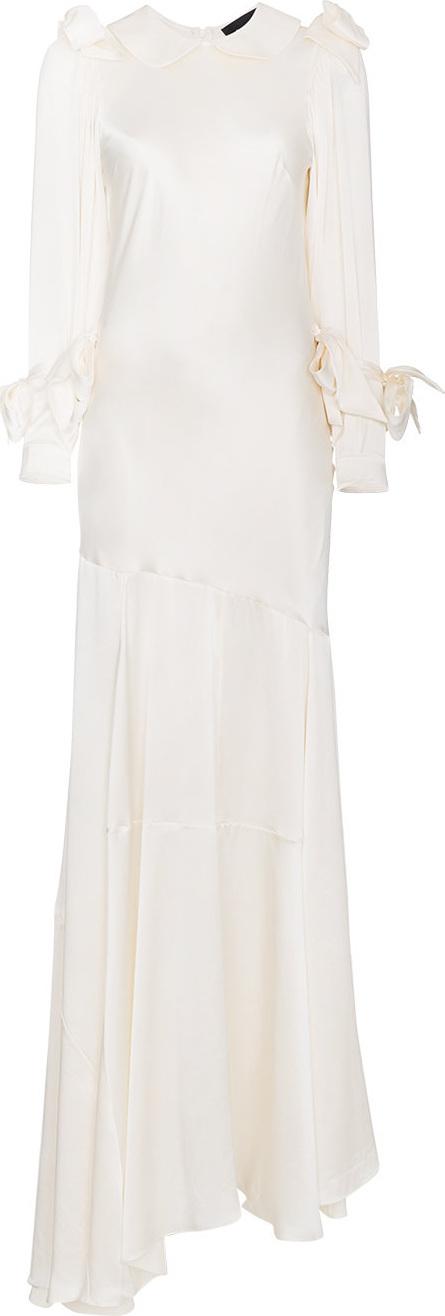 Simone Rocha Bow long sleeve silk bias dress