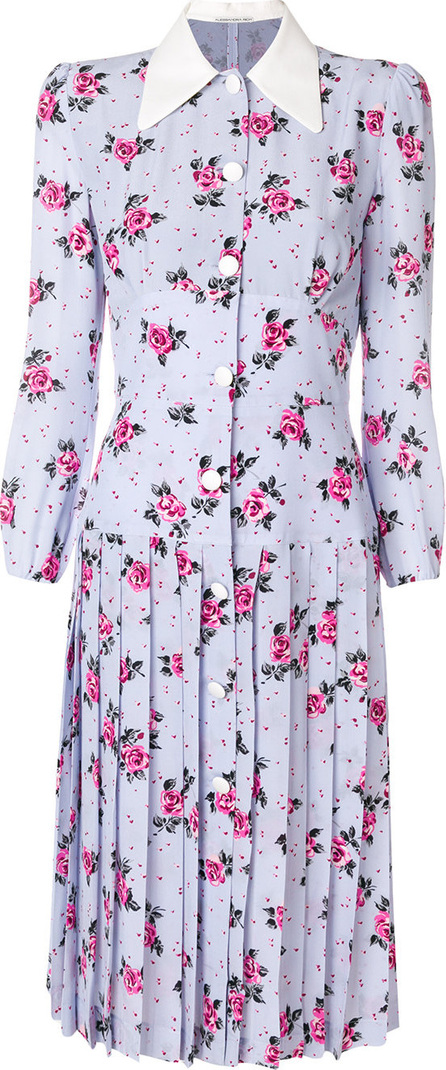 Alessandra Rich Pleated floral shirt dress
