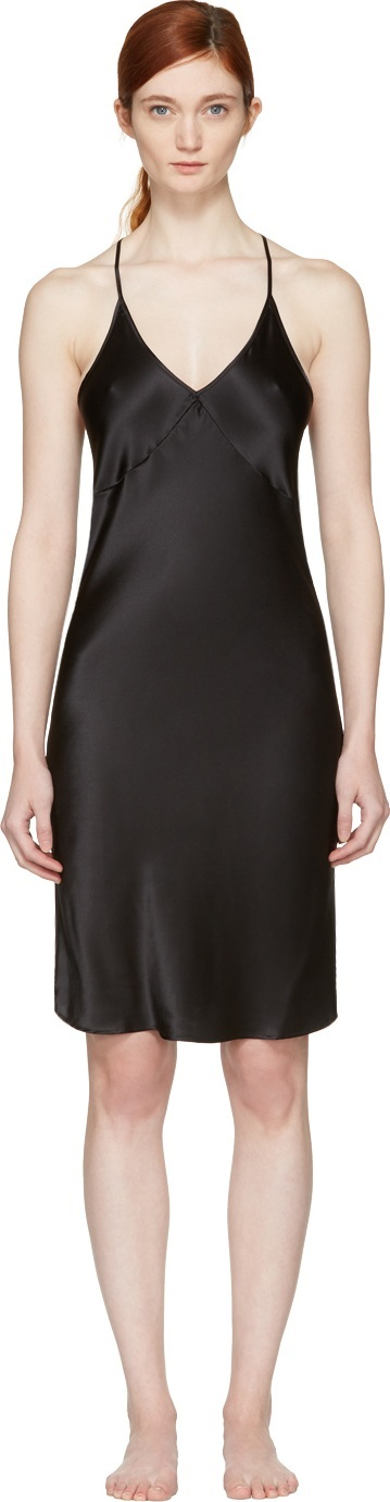 Fleur Du Mal Black T-Strap Slip Dress