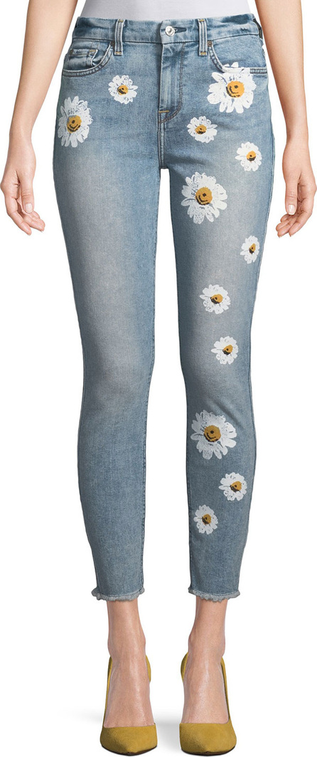 7 For All Mankind High-Rise Ankle Skinny Jeans w/ Daisy Floral-Print & Raw-Hem
