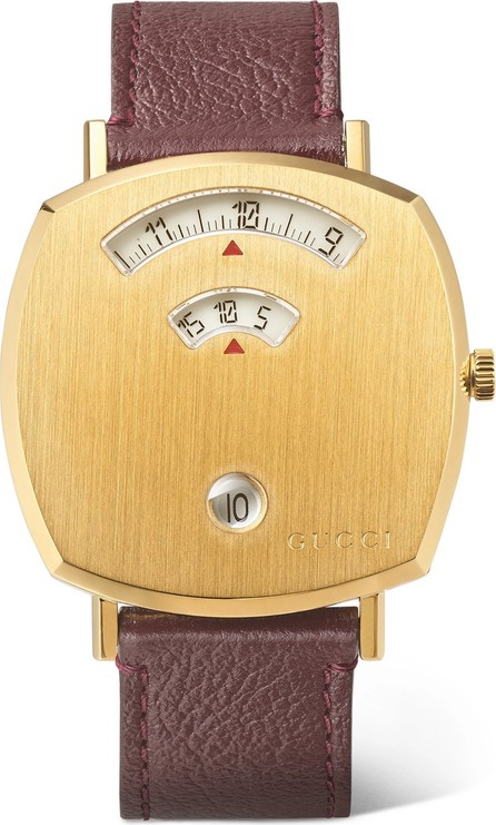 Gucci Grip 35mm gold PVD-plated stainless steel and textured-leather watch