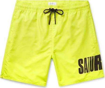 SATURDAYS NYC Wide-Leg Long-Length Logo-Print Swim Shorts