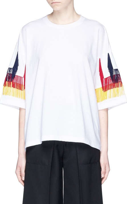 FACETASM Tiered fringe sleeve cotton T-shirt