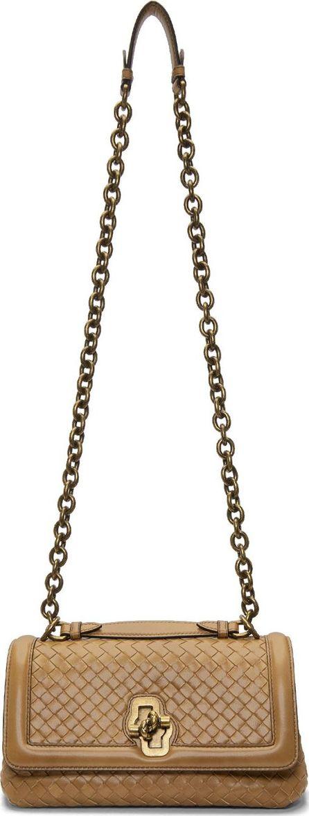 Bottega Veneta Brown Small Intrecciato Olimpia Knot Chain Bag