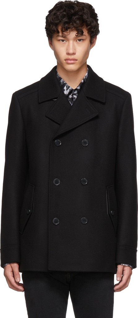 HUGO Black Virgin Wool Balno 1941 Coat