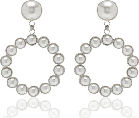 Alessandra Rich Pearl Circle Earrings with Pearl Clip