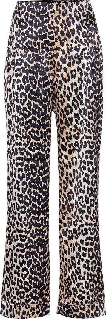 Ganni Dufort leopard-printed silk trousers