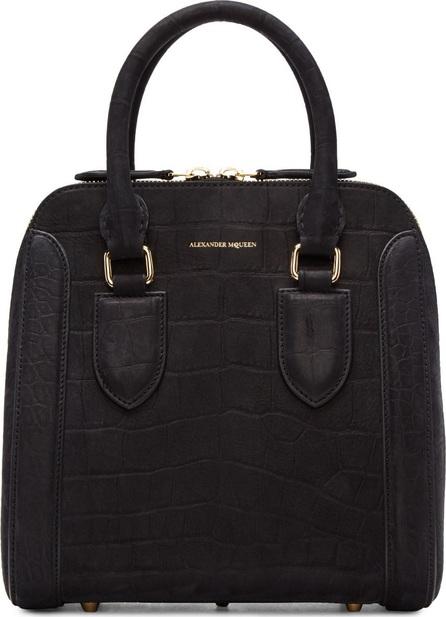 Alexander McQueen Black Croc-Embossed Medium Heroine Bag
