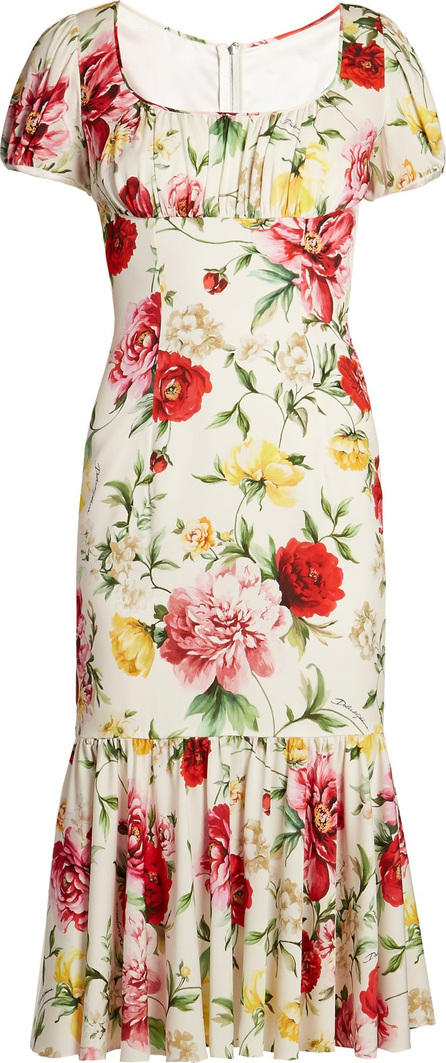 Dolce & Gabbana Floral-print gathered midi dress