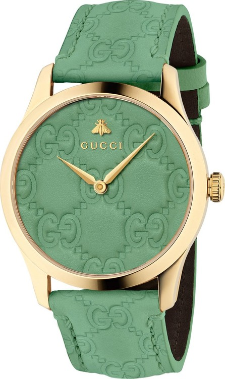 Gucci 38mm G-Timeless Logo Leather Watch, Green