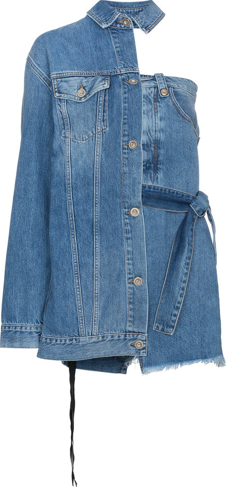 Ben Taverniti Unravel Project Asymmetric Denim Jacket Mini Dress